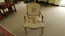 Fancy carved French? parlor chair with needlework floral coverings, SSR