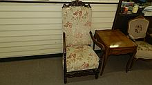 Large carved gentlemen's parlor arm chair. SSR