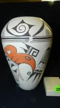 Lovely hand made and hand painted, original Native American pottery vessel, parrot bird & geometric design, signed Nancy Lewis, still has original price sticker $220. COND VG