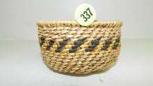 Original hand woven Native American basket by Jane Honga, 1971, Peach Springs, AZ. From the Hualapai tribe. COND VG