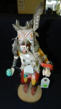 Original, Native American, hand carved and painted Kachina doll / dancer / figure, (wolf mask) COND G-VG