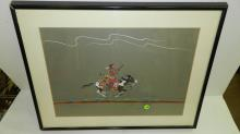 Original framed painting, by Native American artist Walter Dan depicting a 1800-1900 Navajo warrior on horseback, personal description from artist on reverse. Painting COND VG, frame needs reset