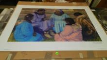 unframed Native American scene signed and numbered litho by F. Machetan titled