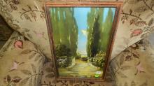 framed A. Fox litho garden stairs