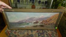 antique oil painting on board ocean scene