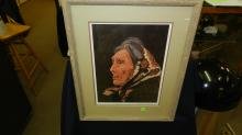 vintage framed signed and numbered litho Native American woman, by Dale Brown, 119/450