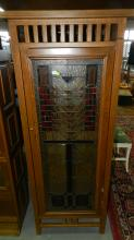 nice Arts & Crafts style (new) leaded and stained glass single door curio / display cabinet, special shipping required