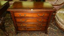 wonderful antique style, carved file cabinet with holders by Hooker Furniture,