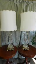 34) wonderful 2 piece large cut crystal prisms table lamps, with fancy bronze / brass base. missing one prism