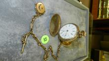 antique gold plated hunters case pocket watch, Waltham, 15 jewels with watch fob chain, non running, no tray