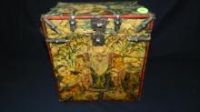 unique hand painted Tibetan treasure box with elder man and child scene, cond VG,