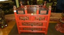lovely Antique Chinese Tibetan small painted chest with carved Fu Lion guards on rail, with drawers, has wax import seal stamp, cond Vg