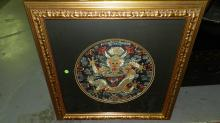 Spectacular Antique Chinese Embroidered Silk Dragon Hanging, gallery framed, amazing detail, nice colors, cond VG