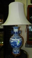 Lovely Asian blue and white porcelain lamp with mountain scene, COND VG
