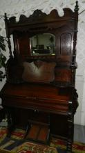 1) Stunning antique carved pump organ with mirrored back splash, works, special shipping required