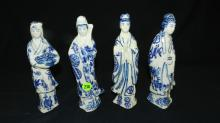 4 piece small Asian blue and white porcelain lady figurines, COND VG