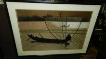 Unique vintage hand embroidered framed art work depicting fishing vessel, COND VG, art is so amazing, from a distance it appears to be a print, master artist made