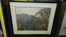 Unique vintage hand embroidered framed art work depicting mountain and tree, COND VG, art is so amazing, from a distance it appears to be a print, master artist made