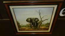 Lovely framed oil painting on canvas African elephant, signed