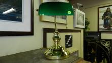 vintage brass and glass green glass banker's style lamp, cond VG
