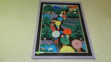 framed Chinese peasant painting? depicting people in park setting with umbrella's, signed