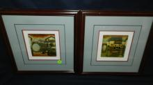 2 piece small framed painting on stone, bridge scene, cond VG