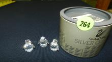 Authentic Austrian Swarovski crystal 3 piece penguins, with box, COND VG