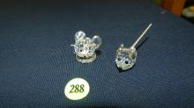 Authentic Austrian Swarovski crystal 2 piece mouse, no box, COND VG