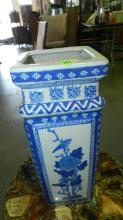 Asian blue and white porcelain vase with base