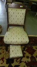 Antique Victorian carved chair and stool, special shipping required