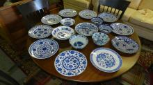 large group of Asian blue and white porcelain, cond VG