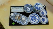 tray of Asian blue and white porcelain, no tray cond VG