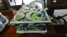 small Asian porcelain blue and white mini tea set