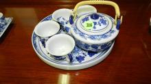small Asian porcelain blue and white mini tea set, cond VG