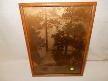1) Nice framed Native American Goldtone photo on glass, by Gomez. Original photo was taken by Edward S. Curtis, Curtis family allowed Gomez to reproduce the image. Titled,