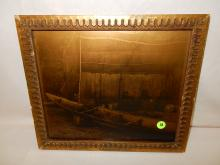 2) Nice framed Native American Goldtone photo on glass, by Gomez. Original photo was taken by Edward S. Curtis, Curtis family allowed Gomez to reproduce the image. Titled,