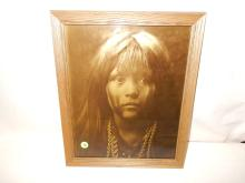 3) Nice framed Native American Goldtone photo on glass, by Gomez. Original photo was taken by Edward S. Curtis, Curtis family allowed Gomez to reproduce the image. Titled,