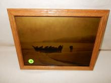 5) Nice framed Native American Goldtone photo on glass, by Gomez. Original photo was taken by Ashael Curtis, Curtis family allowed Gomez to reproduce the image. (Men in fishing canoe). Displays great with Native American items