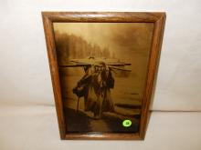 6) Nice framed Native American Goldtone photo on glass, by Gomez. Original photo was taken by Edward S. Curtis, Curtis family allowed Gomez to reproduce the image. Titled,