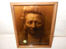 7) Nice framed Native American Goldtone photo on glass, by Gomez. Original photo was taken by Edward S. Curtis, Curtis family allowed Gomez to reproduce the image. Titled,