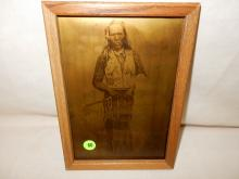 8) Nice framed Native American Goldtone photo on glass, by Gomez. Original photo was taken by Edward S. Curtis, Curtis family allowed Gomez to reproduce the image. (Native American with peace pipe). Displays great with Native American items
