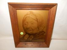 9) Nice framed Native American Goldtone photo on glass, by Gomez. Original photo was taken by Edward S. Curtis, Curtis family allowed Gomez to reproduce the image. Titled,