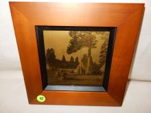 10) Nice framed Native American Goldtone photo on glass, by Gomez. Original photo was taken by Edward S. Curtis, Curtis family allowed Gomez to reproduce the image. (Native Americans & Teepees). Displays great with Native American items