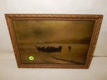 13) Nice framed Native American Goldtone photo on glass, by Gomez. Original photo was taken by Edward S. Curtis, Curtis family allowed Gomez to reproduce the image. (Men in fishing canoe). Displays great with Native American items