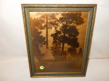 14) Nice framed Native American Goldtone photo on glass, by Gomez. Original photo was taken by Edward S. Curtis, Curtis family allowed Gomez to reproduce the image. Titled,