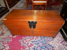 23) Large vintage Asian dove tailed blanket chest / trunk, with brass hardware, special shipping required