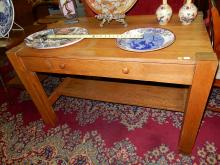 Antique American oak arts & Crafts library desk with center drawer. Special shipping required
