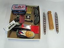 Box Lot Assorted Estate Collectibles. Toy Grenades, Studebaker Car Emblems, RR Crossing Sign & More.