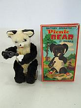 Battery Operated Picnic Bear. It Drinks. Untested. With Box. Box As Shown.