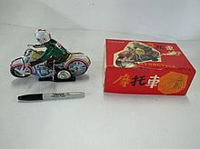 Tin Wind Up Motorcycle Toy. With Box. Box Is As Seen. Not Old.